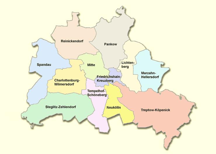 Übersichtskarte der 12 Bezirke in Berlin
