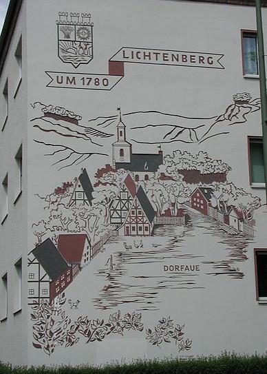 Lichtenberg um 1780 – Stadtansicht auf einer Hauswand