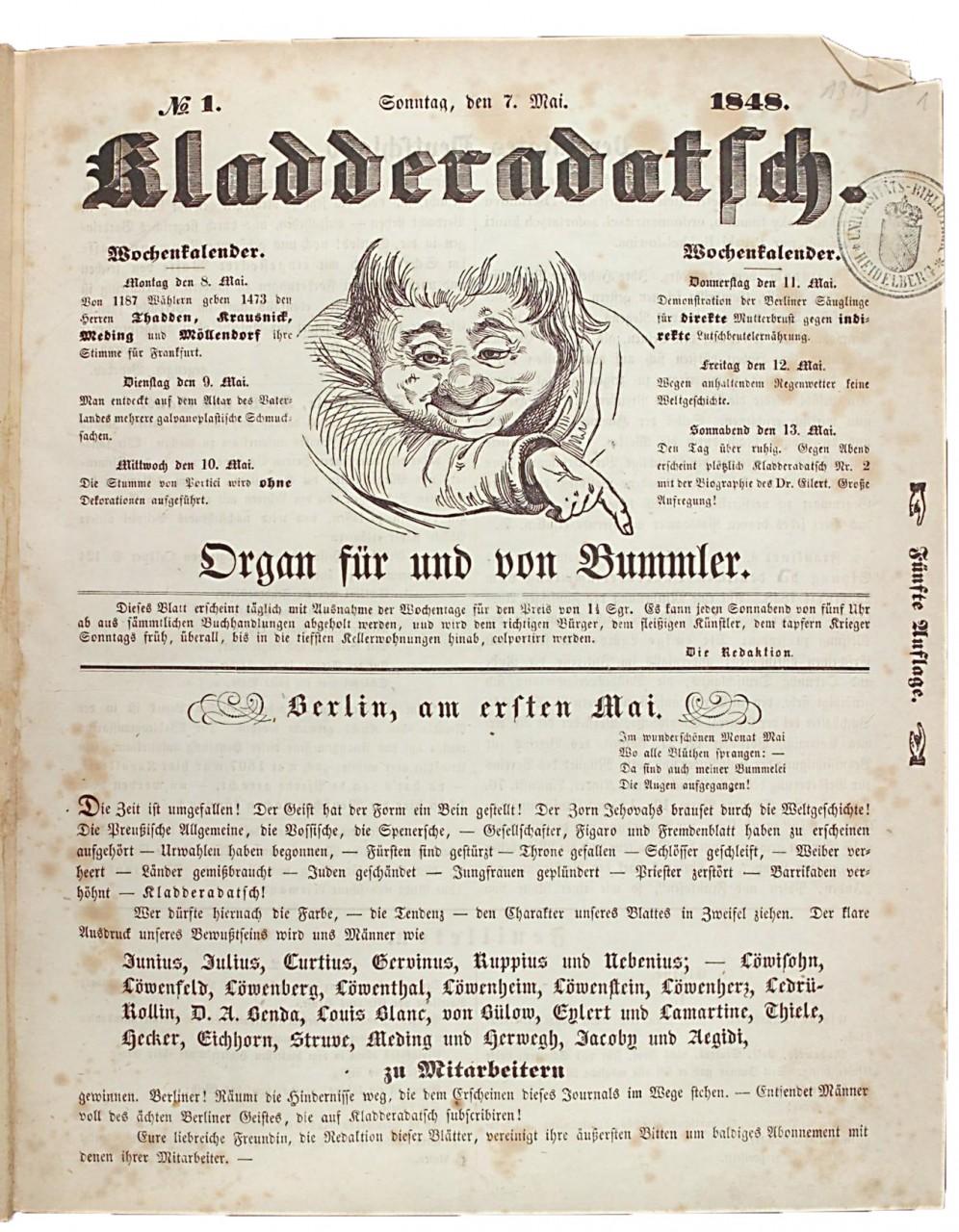 Satire-Zeitschrift in Berlin aus dem Jahr 1848