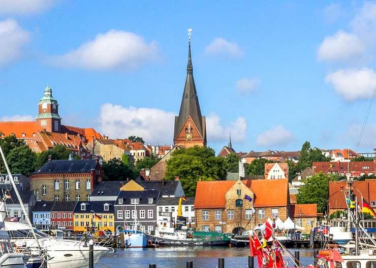 Marienkirche und Hafen Flensburg
