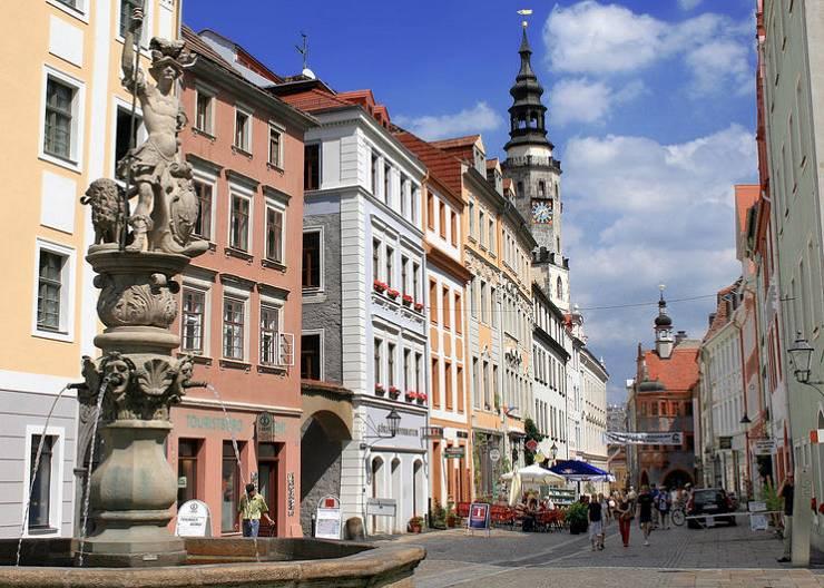 Auf der Fahrradtour durch Görlitz: Georgsbrunnen und Obermarkt