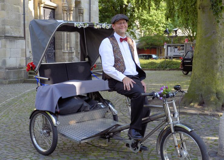 Rikscha, beim Fahrradverleih von k3 stadtführungen in Münster